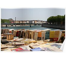 Book Market by the Saône River In Lyon France Poster
