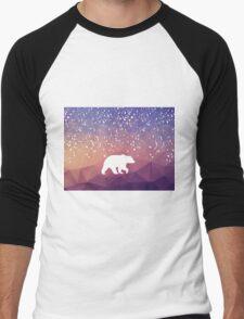 Beary Snowy in Purple Men's Baseball ¾ T-Shirt
