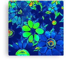 Psychedelic Neon / Green Garden of Flowers - Mosaics Canvas Print
