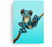 Cute Blue Tree Frog on a Branch Canvas Print
