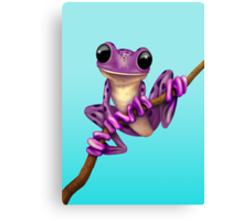 Cute Purple Tree Frog on a Branch Canvas Print