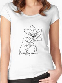 Dismantling Summer Flower Logo - White Women's Fitted Scoop T-Shirt