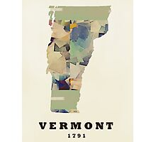 vermont state map  Photographic Print