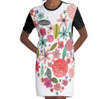 Floral Heart Graphic T-Shirt Dress
