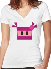 Pink Ninja Women's Fitted V-Neck T-Shirt