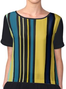 Teal blue and Yellow Stripes Chiffon Top