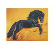Friesian Stallion Ribbon Dance Art Print
