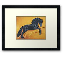 Friesian Stallion Ribbon Dance Framed Print