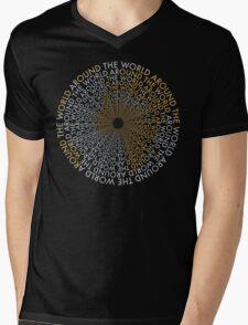 Around the World - Gold, Silver Mens V-Neck T-Shirt