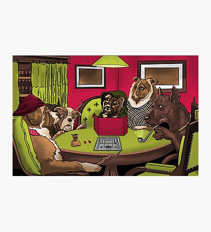 Dogs Playing Dungeons and Dragons Photographic Print