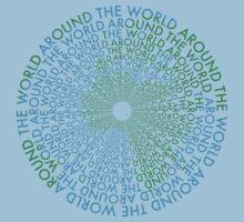 Around the World - Blue, Green One Piece - Short Sleeve