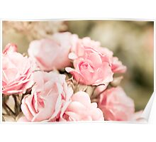 Vintage roses bouquet sepia toned flowers bunch  Poster