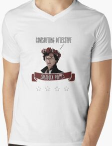 Consulting detective Sherlock Holmes Mens V-Neck T-Shirt