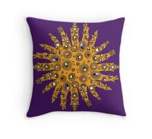 Golden Crown Thing with Jewels Throw Pillow