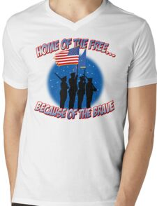 Home Of The Free Because Of The Brave Mens V-Neck T-Shirt