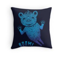 Turquoise Bear Goes Boom Throw Pillow
