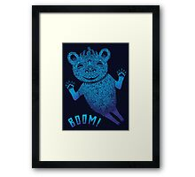 Turquoise Bear Goes Boom Framed Print