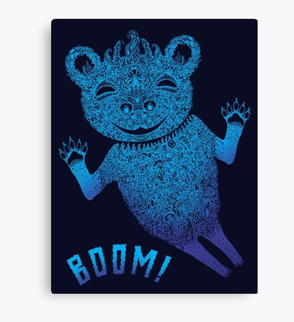 Turquoise Bear Goes Boom Canvas Print