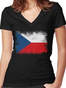 Czech Women's Fitted V-Neck T-Shirt