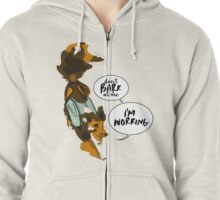 """Sassy Service Dogs   """"Don't Bark At Me, I'm Working"""" Sheltie Zipped Hoodie"""
