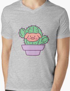 Pig Face Cactus Mens V-Neck T-Shirt