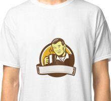 Asian Man Drinking Coffee Circle Woodcut Classic T-Shirt