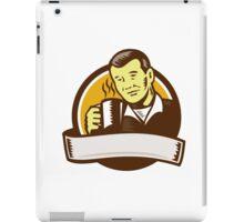 Asian Man Drinking Coffee Circle Woodcut iPad Case/Skin