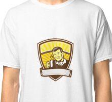 Asian Man Drinking Coffee Crest Woodcut Classic T-Shirt