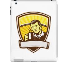 Asian Man Drinking Coffee Crest Woodcut iPad Case/Skin
