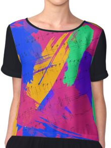 Wild Paint Brush Colors and Music Sheets Chiffon Top