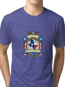 Texas State Map Flag Coat of Arms Retro Tri-blend T-Shirt