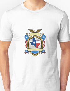 Texas State Map Flag Coat of Arms Retro Unisex T-Shirt