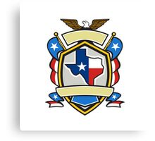 Texas State Map Flag Coat of Arms Retro Canvas Print