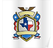 Texas State Map Flag Coat of Arms Retro Poster