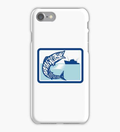 Wahoo Fish Jumping Fishing Boat Rectangle Retro iPhone Case/Skin