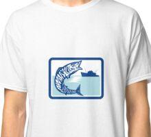 Wahoo Fish Jumping Fishing Boat Rectangle Retro Classic T-Shirt