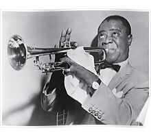Louis Armstrong with his trumpet Poster