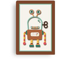 Cute Retro Wind-up Robot Toy Canvas Print