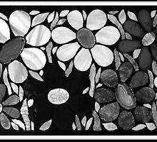 Garden of Flowers in B&W - Mosaic Art by WonderMeMosaics