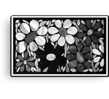 Garden of Flowers in B&W - Mosaic Art Canvas Print
