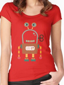 Cute Retro Wind-up Robot Toy Women's Fitted Scoop T-Shirt