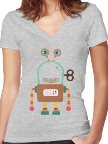 Cute Retro Wind-up Robot Toy Women's Fitted V-Neck T-Shirt