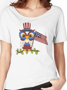 Patriotic Owl Women's Relaxed Fit T-Shirt