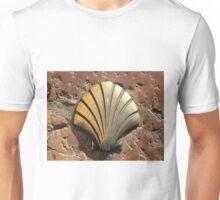 Gold El Camino shell sign, pavement, Leon, Spain Unisex T-Shirt