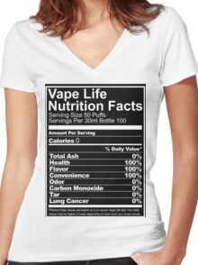 Vape Life Nutrition Facts Women's Fitted V-Neck T-Shirt