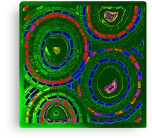 Stained Glass Green Psychedelic Circles - Mosaic Art Canvas Print