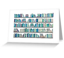 Blue Library Greeting Card