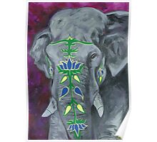 Painted Elephant - purple background Poster
