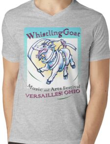 Whistling Goat 'just happy to be here' Festival Mens V-Neck T-Shirt