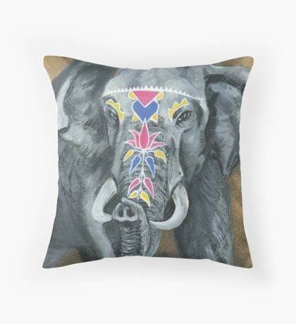 Painted Elephant - look at my trunk Throw Pillow